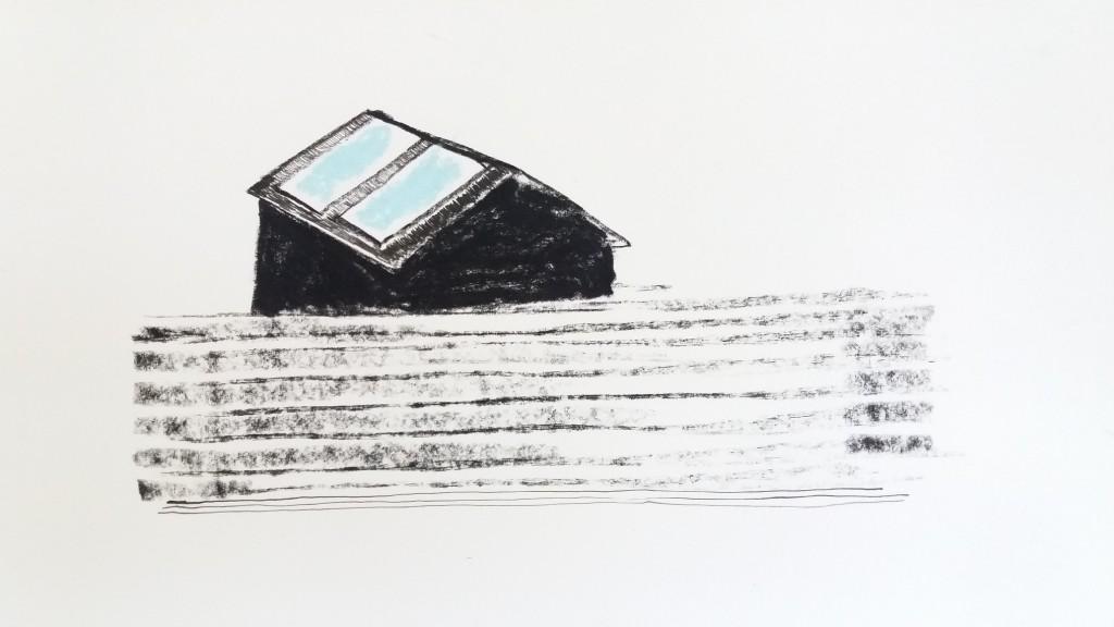 schuilplaats - 28 x 35 cm- siberisch krijt, pastel, inkt op papier
